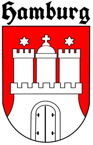 ca. 8 x 5 cm - Wappen u. Schrift Konturschnitt - Autoaufkleber Hamburg mit Schriftzug Sticker...