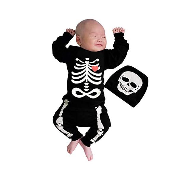 Shenye - Conjunto de Ropa para niños de 0 a 24 Meses, para recién Nacidos, niños y niñas, con Estampado de Hueso de Halloween, Mono y Sombrero, Conjunto de Trajes 1