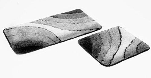 Goodway 2 teiliges Badematten Set Wave grau