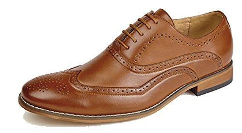 Herren 5 Öse Brogues Oxford Schuh mit Lederfutter - herren, Hellbraun, EU 43 -