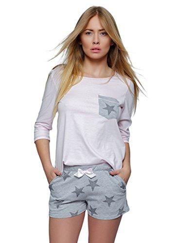 SENSIS modisches Baumwoll-Shorty / Schlafanzug aus Langarm-Shirt mit angesagtem Print und niedlicher Shorts, made in EU (M (38), rosa/grau mit Sternen)