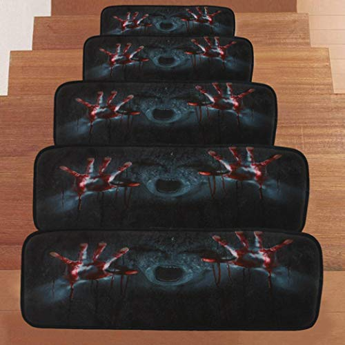 (VEMOW Halloween Party Horror Dekoration 1 Satz StepBasic Rutschfeste Korallen Fleece Beständig Teppich Stair Mat 22cmx70cm(Schwarz, 22cmx70cm))