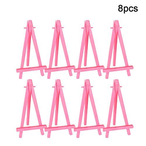 Mini-Staffelei, Handy-Ständer, Foto-Ständer, für Malerei, Visitenkarten, Ständer, Ständer, Ständer, Ständer, tragbar, 8 Stück, Pink