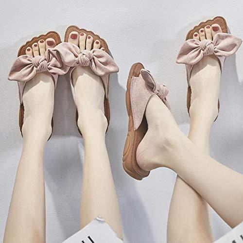 Zehen-sandalen Schleife (NIGHT WALL Offene Zehen Bad Strandschuhe, Flache Sandalen mit Schleife, Rosa, 35 Frauen Bequeme Plateausandale Freizeitschuhe Sommer Strand Reiseschuhe)