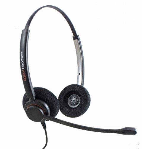 Professional Double Ear Noise Cancelling Office/Call Centre Headset With U10P Bottom Cable works with Mitel, Nortel, Avaya Digital, Polycom VVX, Shoretel, Aastra + Many More Avaya-digital-headset