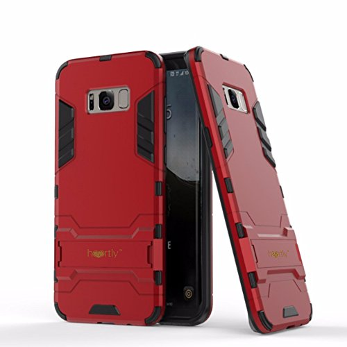 Heartly Graphic Designed Kick Stand Hard Dual Rugged Armor Hybrid Bumper Back Case Cover For Samsung Galaxy S8 – Hot Red