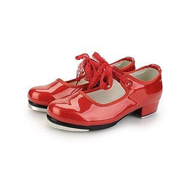 Silence @ robinet de chaussures de danse pour femme en similicuir/cuir verni Talon bas Noir/rouge/blanc blanc