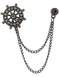 Knighthood Black Anchor With Swarovski Detailing Brooch/Lapel Pin