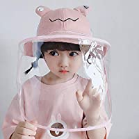 Anti Spitting Protective Kids Hat Face Shield Fisherman Hat Anti Splash Safety Droplets Hat (Frog pink)