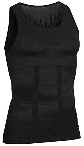 i-select Shapewear Ärmelloses Kompressions-Shirt Taille Fettpolster Tank Top (EU L/Asia Etikett XL, Schwarz)