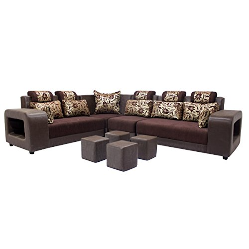 Woodpecker Saffron Six Seater L-Shaped Sofa (Marble Brown)