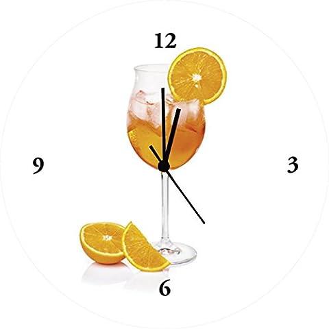 Horloge verre à montres float artland photo avec motif repas à boire &zerbor: aperol spritz dans un verre à vin décoré avec une vitre orange dimensions: 35 x 35 cm-nord