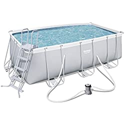 Bestway Power Steel 56456 - Piscina (Piscina con anillo hinchable, Rectangular pool, 8124 L, Azul, Gris, 110 cm, PVC)