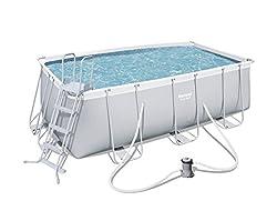 Bestway Power Steel Frame Pool Set, mit Kartuschenfilterpumpe,  viereckig, grau, 412 x 201 x 122 cm