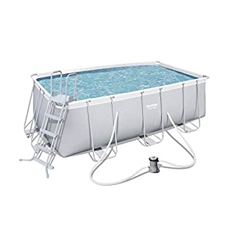 Bestway 56456 Piscina Power Steel Frame Rettangolare, 412x201x122 cm