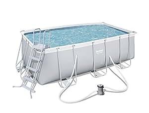 Bestway Power Steel Rectangular Frame Pool Set, hellgrau, mit Filterpumpe + Zubehör, 412 x 201 x 122cm