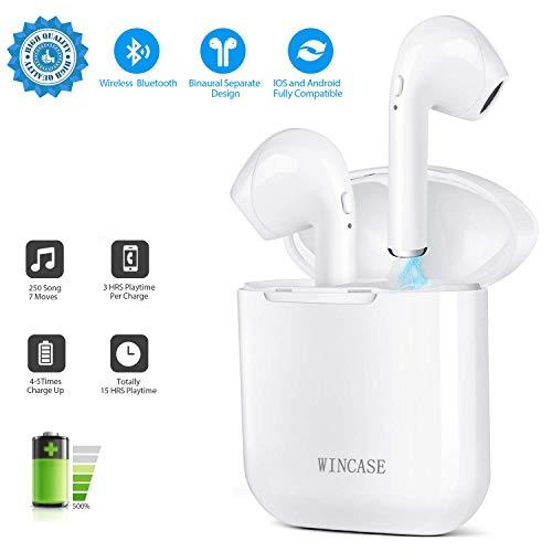 WINCASE Cuffie Bluetooth, Auricolari Bluetooth Senza Fili Mini Cuffie Wireless TWS Sportivo Cuffie Cordless con Mini Scatola di Ricarica Portatile Compatibile con Android iOS