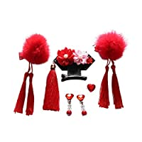 gohigher Kid Girl Hair Clip Chinese Style Pompom Tassel Vintage Earrings Ring Jewelry Gift Set Red