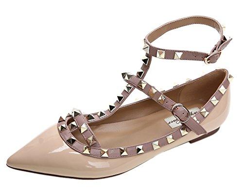 Royou Yiuoer Ballerinas-Damen Niets Spitze-Pumps Riemchen Rivets Flache-Schuhe mit T-Spangen Beige 37 EU Patent T-strap Pump