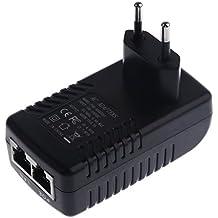 Gazechimp Adaptador POE de 48V 0.5A con 2 Puertos Accesorios de Red Ethernet WLAN IP Teléfono
