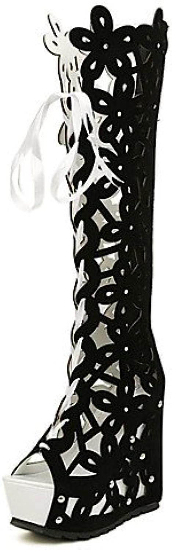 ZQ Zapatos de mujer-Tac¨®n Cu?a-Cu?as-Tacones-Casual-Vell¨®n-Negro / Blanco , white-us8 / eu39 / uk6 / cn39 ,...