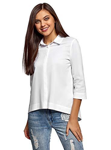 oodji Ultra Damen Lässiges Hemd mit Asymmetrischem Saum, Weiß, DE 34 / EU 36 / XS