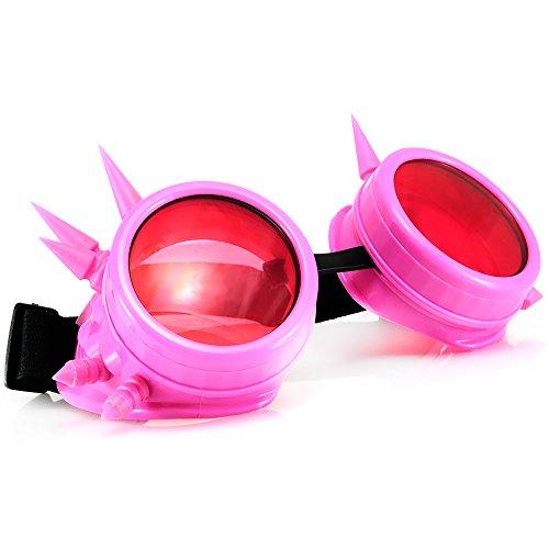 Welding Cyber Goggles Goth Schutzbrille Cosplay Antique Sonnenbrille Victorian Pink Spikes  MFAZ Morefaz Ltd (Spike Beanie Herren)