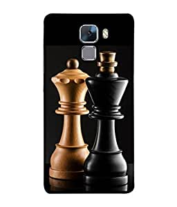 PrintVisa Designer Back Case Cover for Huawei Honor 7 :: Huawei Honor 7 (Enhanced Edition) :: Huawei Honor 7 Dual SIM (The King And Queen Of Chess Design)