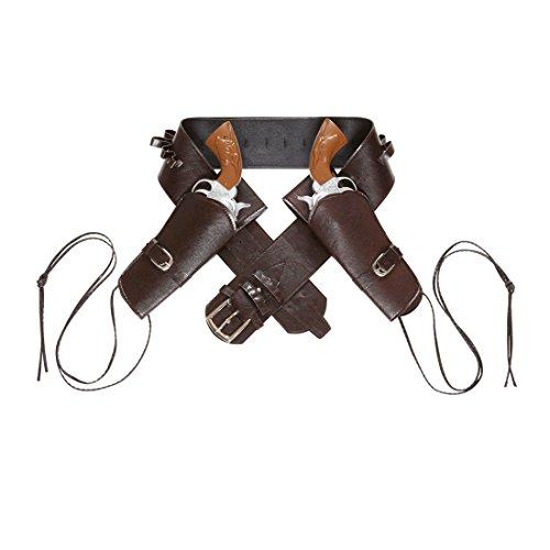 Pistolengürtel mit zwei Halftern Westerngurt braun Colt Holster Cowboy Halfter Gangster Revolver Halterung Wild West Party Fasching Zubehör