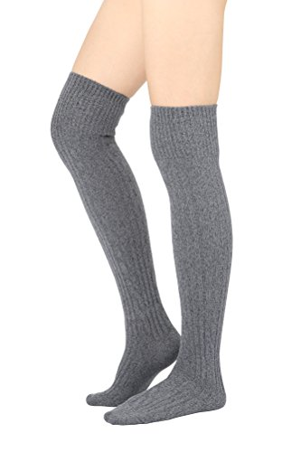 STYLEGAGA Women's Over The Knee High Boot Socks One Size: Xs To M Cozy Cable_Gray