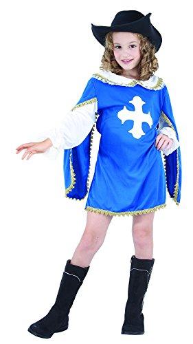 Ridere e coriandoli - Ficmo 033 - Costumi per Bambini - Costume Moschettiere Little Blue - Girl - Taglia L