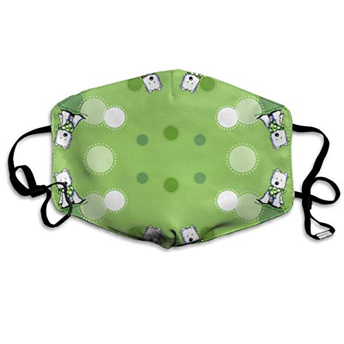 Dots Boys Band (Comfort Earloop Mouth Mask, Anti-Dust Anti Flu Bacteria Virus Smog Mouth-Muffle with Adjustable Elastic Band - Windproof Green Dots White Dog Half Face Mouth Mask)