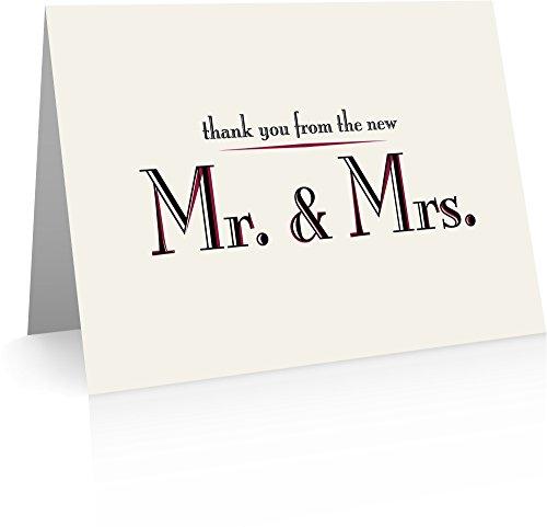 Dankeskarten, Hochzeit (40gefaltete Karten und Umschläge) Ehe Dankeschön Grußkarte