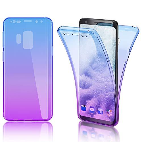 NALIA 360 Grad Hülle kompatibel mit Samsung Galaxy S9, Full Cover vorne und hinten R&um Doppel-Schutz, Dünnes Ganzkörper Case Silikon Etui, Transparenter Bildschirmschutz und Rückseite, Farbe:Blau Lila