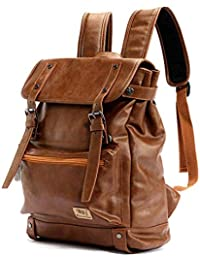 9612ef25987 Eeayyygch Mochila de Gran Capacidad para Hombres Estudiante Adolescente Bolsa  de Ordenador portátil Mochila de Viaje Hombres Cuero…