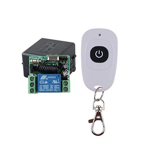 12v Ac Alarm Remote (Lejin DC 12V 1CH Türzugangsöffner-Knopf Fernschalter Mini-drahtloser Schalter weißer großer Knopf Fernsteuerungsübermittler wasserdicht)