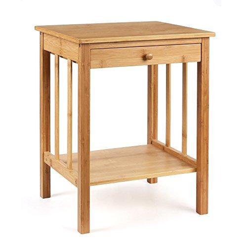 HOMFA Mesitas de Noche de Bambú Mesita auxiliar con cajón para Dormitorio...
