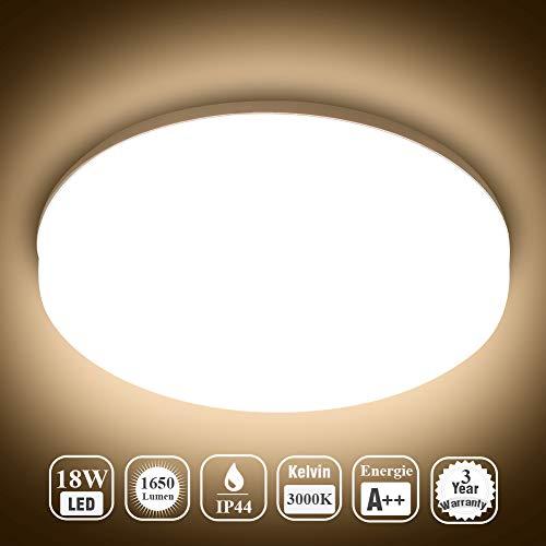 Öuesen 18W Wasserdichte LED-Lampe Decke Moderne dünne Runde LED bündige Deckenleuchte 1650lm Warmweiß 3000K LED Deckenlampe für Badezimmer Schlafzimmer Küche Wohnzimmer Korridor Balkon Flur Bad Schöne Küche