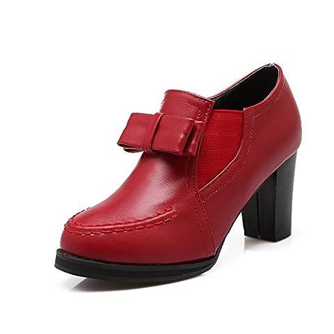 balamasa Mesdames fermeture éclair kitten-heels Round-Toe pumps-shoes en caoutchouc solide - Rouge - rouge, 36 2/3