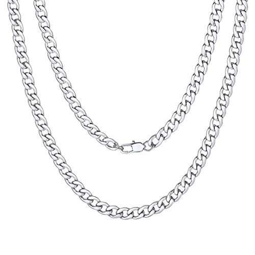 f27a9f5a296c Mens Stainless Steel Chunky Long Necklace 30inch 76cm Hip Hop Bling Jewelry  Chain Silver Color