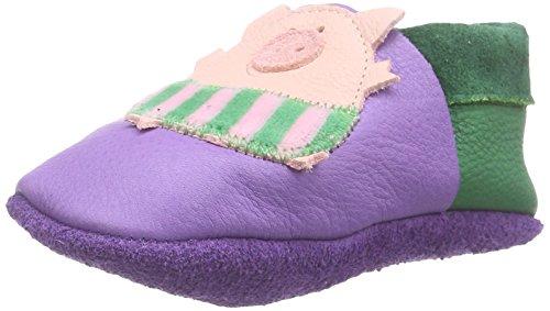 Pololo POLOLO Schweinchen, Chaussons courts, non doublées mixte enfant - Violet - Violett (lilac 524), 18/19
