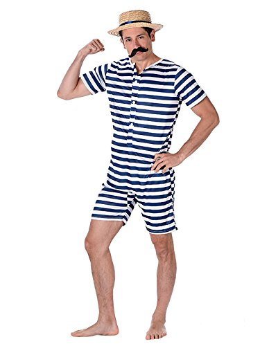 Male Old Time Vintage Bathing Suit Costume with Hat and Tash