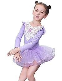Urmagic Filles Tulle Danse Ballet Justaucorps Tutu Jupe Princesse Danse  Leotard en Dentelle Costumes pour 3 bebaa672932