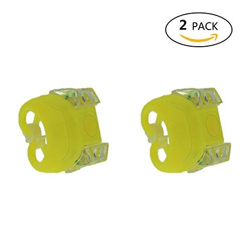 2Pcs Silikon Frosch Licht,Fahrrad Sicherheits Warnlampe Alfort Mini Clip-On LED Vordere/Hintere Kinder Laufrad Warnung Lampen Für Mountainbike-Camping, Reisen, Abenteuer und andere Outdoor-Aktivitäten (Gelb)