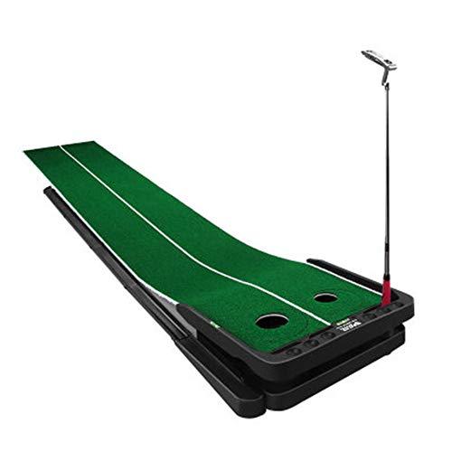 Große, erweiterte, einstellbare Pistengolf-Putting-Matte mit Zwei Geschwindigkeiten, Course Putt-Trainingsgerät für das Ballrückholsystem und Gummibasis in hoher Qualität -