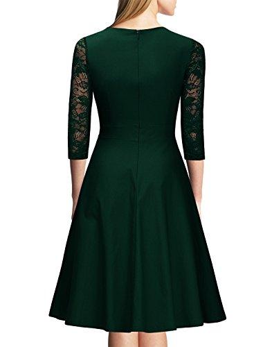 Miusol Damen Abendkleid Elegant Cocktailkleid Vintage Kleider 3/4 Arm mit Spitzen Knielang Party Kleid Gruen Gr.XL -