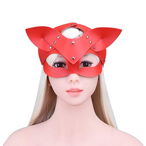 Unbekannt Hund Ohr Fuchs Maske Leder Lackleder Spaß Augenmaske Halloween Cosplay Kostüm Maskerade Zubehör Fotografie Requisiten Alternatives Spielzeug