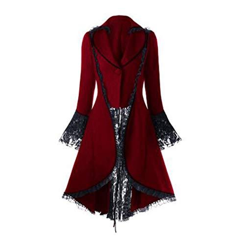 XWBO Damen Steampunk Schwanzmantel Gothic Barock Anzug Jacke Mantel Viktorianische Frack mit Spitze und Schnürung Outwear Holloween Cosplay Kostüm