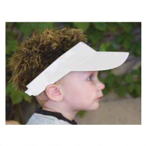Billy-Bob Baby Mütze 'Baby Visor - White With Brown Hair'. Baseball-Cap mit Haaren.
