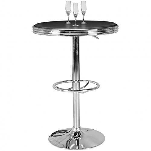 FineBuy Bar American Diner Table ronde KING Ø 60 cm simili cuir aluminium | table de bar rétro États-Unis en Noir / Argent | table de bistrot robuste dans le style des années 50 | Parti table avec base en aluminium chromé